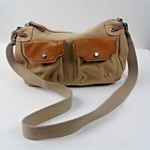 Fossil Womens Tan with Leather Accents Cross Body Adjustable Strap Handbag