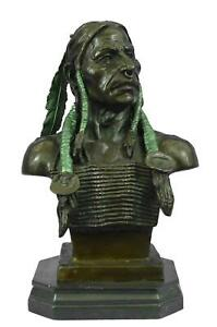 Native American Indian Chief Bronze Metal Bust Sculpture (Special Patina) 14