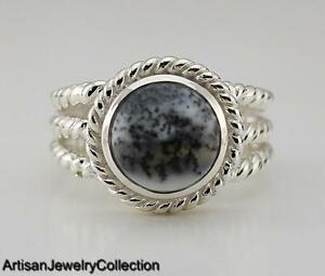 DENDRITIC OPAL & 925 STERLING SILVER RING JEWELRY SIZE 6.5  Y978A