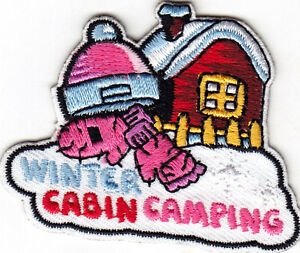 WINTER CABIN CAMPING Iron On Patch Scouts Cub Girl Boy Camp Trip