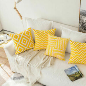 Cushion Cotton Pillowcase Home Case Linen Cover Geometric Stripe Cushion $3.15
