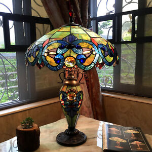 Tiffany Style Table Lamp Desk Light Victorian Design Decorative Pull Chain Home