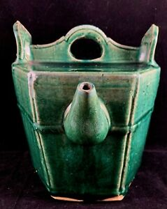 Estate Old House Chinese Antique Green Glazed Porcelain Pottery Teapot $149.00