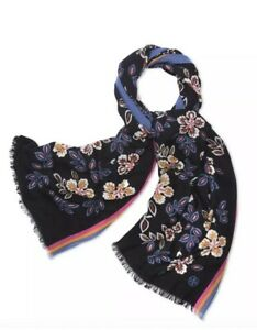 NWT Tory Burch Authentic Hopewell 100% Wool Scarf $195 Tropical Floral