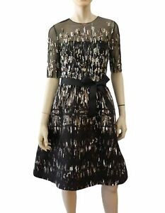 MONIQUE LHUILLIER Embellished Illusion Neck Black Organza Cocktail Dress 8 NEW