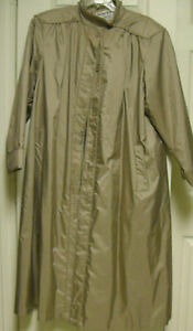 VTG 80s Weather Wise Micki Shimmer Khaki All Weather Trench Coat wlining S 910