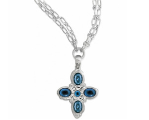 NWT Brighton VERSAILLES NEPTUNE CROSS Necklace Silver Blue Have Faith $115 NWT