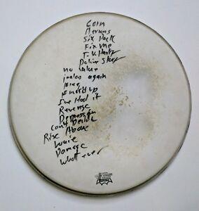 BLACK FLAG Setlist Inscribed Drumhead 1982 Chuck Biscuits Henry Rollins Signed