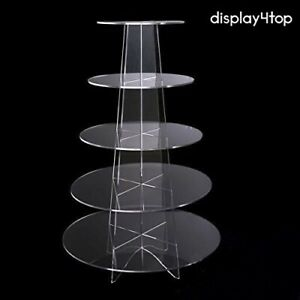 (5 Tier Round Clear) - Display4top Cupcake Stand Acrylic Display For Wedding