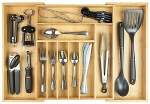 """KitchenEdge Flatware & Utensil Organizer for Kitchen Drawers Expands to 25"""" Wide"""