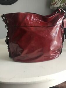 Coach 17861 Chelsea Patent Leather Ashlyn Hobo Hand Bag Wine Red