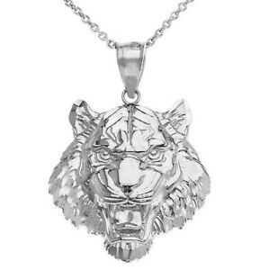 Sterling Silver Men's Roaring Tiger Small Medium Large Size Pendant Necklace