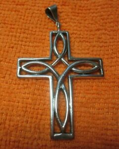 Vintage Very Special Mens Sterling Silver 10.9 gm. Cross 2 12