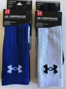Mens Under Armour Socks Unrivaled Size L Adult Size X TWO PKS Blue and White $16.98