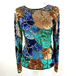 Sequin Women's Designer Top Large Mulitcolor Flower Blue Turquoise Peach M