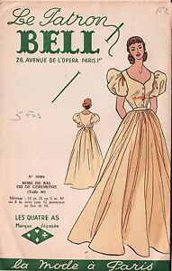 VTG FRENCH Sewing Pattern Le Patron Bell Dress Robe de Bal Bust 34.25quot; $19.98