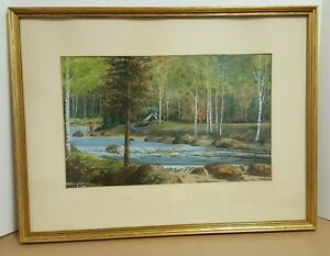 Vintage Watercolor by W.A. Cormier of Camping on River Signed and Framed 1946 $95.00
