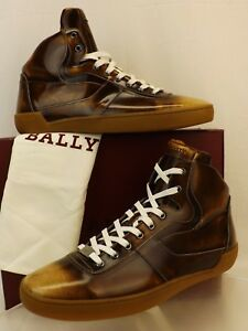 NIB BALLY EROY CUIR BRUSHED LEATHER LOGO HI TOP LACE UP SNEAKERS 14 D US 47