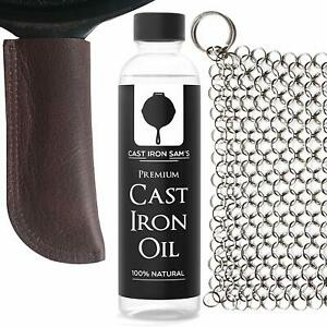 Leather Cast Iron Handle Cover, Stainless Steel Chainmail Scrubber and Oil.