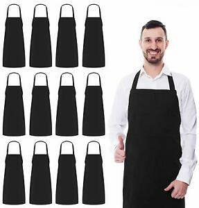 Professional Bib Aprons Pack of 12 Black 32 x 28 Inches Lot Utopia Kitchen