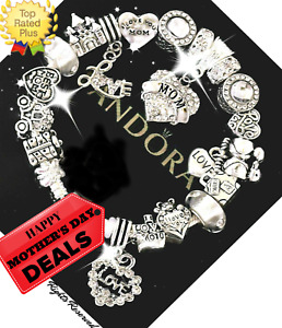 Authentic PANDORA Silver Bracelet Bangle with MOM MOTHER DAY European Charms New