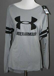 NWT $44.99 UNDER ARMOUR Gear Active Top Tee Blouse Gray Black Loose XL