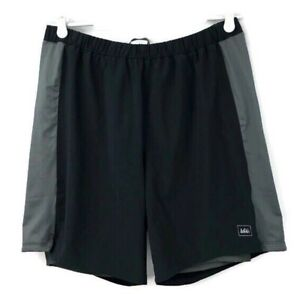 REI Mens Athletic Running Black Gray Shorts With Liner Size Large