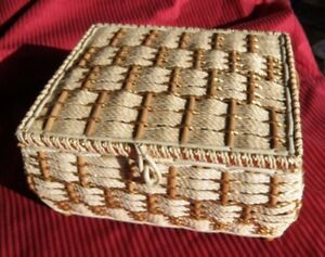 Vintage Sewing Basket Wicker Hollywood Regency Padded SILK and GOLD knitting $69.50