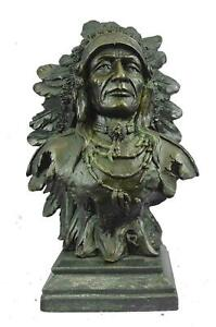 Bronze Bust Sculpture of Native American Indian Chief Feathered War Bonnet 12