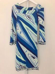 EMILIO PUCCI BLUE MULTI-COLORED SQUARE NECK BELL SLEEVE DRESS SIZE 4