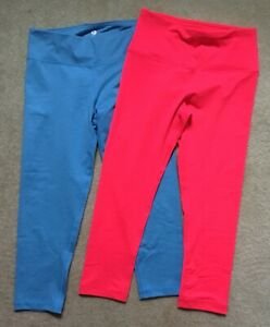 TWO Pair 90 Degree by Reflex Workout Yoga Crop Pants Size Small Coral Blue NWOT