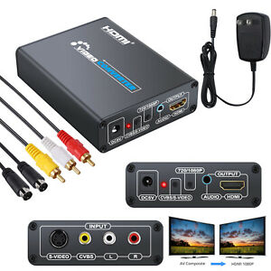 New 3RCA AV CVBS Composite S-Video RL Audio To HDMI Adapter Upscaler With Cable