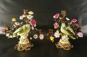 Wong Lee Ceramic and bronze Chinese Export Style Parrot candle holders.