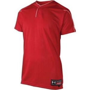 NWT Under Youth Armour Two Button Baseball Jersey Red 1102740 600 SZ YSM