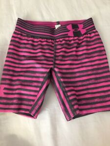 Girls Under Armour Heatgear Shorts Fitted Extra Small XS Pink & Gray