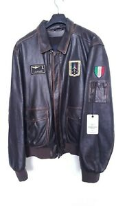 Aeronautica Militare Men's Brown Leather Jacket Size XXL Made in Italy