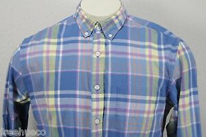 J.CREW Lightweight Light Blue Yellow Plaid Cotton Sport Shirt -Men's Large