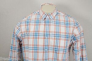 J.CREW White Orange Blue Multi Plaid Long Sleeve Sport Shirt -Men's Large