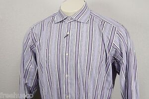 ETRO MILANO Lavender Purple Gray Multi Striped Long Sleeve Sport Shirt -Men's 41