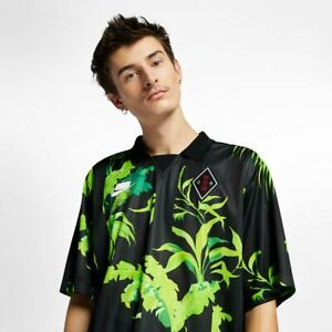 Nike NSW Floral Football T-Shirt New Men's Black Green Active Wear AR1620-389