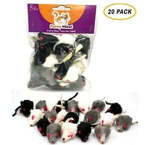 20 Furry Mice with Catnip amp; Rattle Sound Made of Real Rabbit Fur Cat Toy Mouse