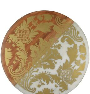 Thirstytone Marble & wood serving Board with Gold-Tone Brocade Desing