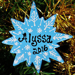 SNOWFLAKE Christmas ORNAMENT Personalize U CHOOSE NAME & YEAR Winter Snow Gift