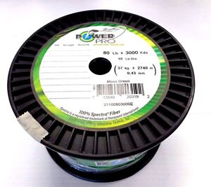 Power Pro Spectra Fiber Braided Line Braid - 80 Lb Test 3000 Yards - Moss Green
