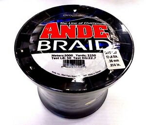 ANDE Braid Braided Fishing Line - 50 Lb Test 3250 Yards - GRAPHITE Color