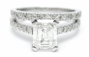 1.40CT EMERALD CUT DESIGNER STYLE DIAMOND ENGAGEMENT RING & BAND E15