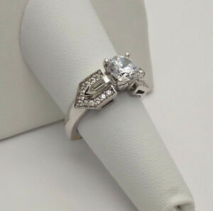 A Jaffe .78ctw Round & Bullet Diamonds 18k White Gold Engagement Mounting Ring