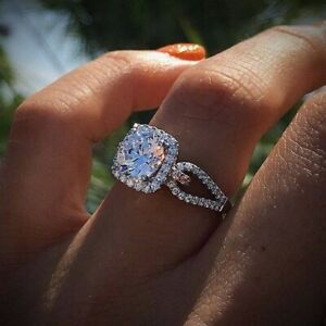 925 Silver White Sapphire Ring Wedding Engagement Bridal Jewelry Rings For Women