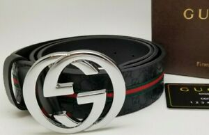 Mens Designer Belt Business Casual HIGH QUALITY Silver Buckle Black Leather GC3