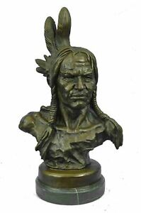 Native American Indian Chief Bronze Bust Sculpture 20